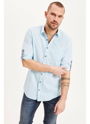 DeFacto Katlanabilir Kollu Slim Fit Gömlek Mavi